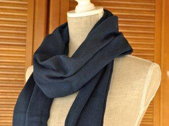 播州織×藍染マフラー(半巾/巾45cm)/淡の画像