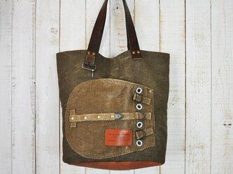 チェコ軍 ミリタリーシーサックリネンのトートバッグ/前ポケットの画像