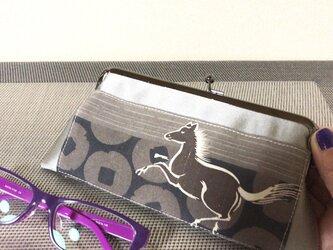 ★眼鏡ケース がま口タイプ   お馬さんとサンドベージュ帯地★の画像