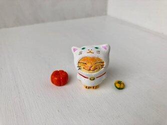 猫をかぶった猫さんカボチャ二個付き(しろ)の画像