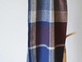 手織りカシミヤマフラー/杉綾/ネイビー×ブラウン/18207の画像
