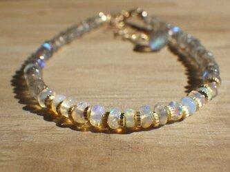 10月の誕生石 Opal Gem Bracelet オパールとラブラドライトのブレスレットの画像