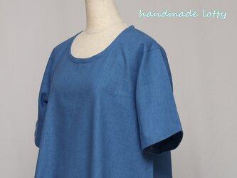 【L】Aラインチュニックハーフリネン(ブルー) 半袖_C18の画像