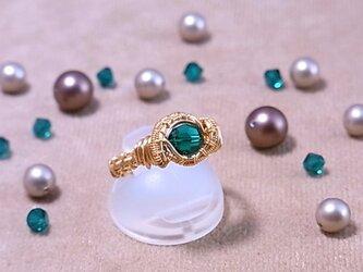 スワロフスキー(6mm) ワイヤーラッピングリング(162034 emerald<gold>)の画像