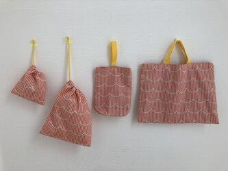 入園・入学準備4点セット(ピンクもくもく×ストライプ)の画像
