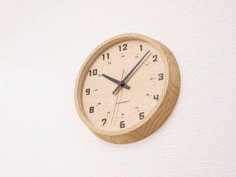 muku round wall clock 8 ナチュラル 電波時計 連続秒針 km-81NRCの画像
