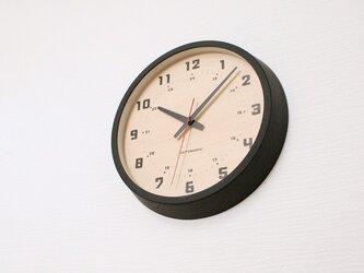 muku round wall clock 8 ブラック 電波時計 連続秒針 km-81BRCの画像