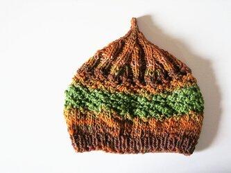 〇送料無料〇 どんぐりニット帽子新作 キャメルブラウングリーンの画像