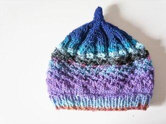〇送料無料〇 どんぐりニット帽子新作 ブルーパープルの画像
