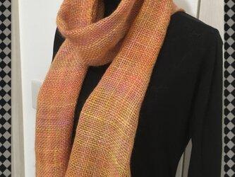 手織りのストール (オレンジ)の画像
