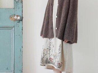 【受注製作】手作綿麻・ロング・天然麻生地刺繍 ワンピース TR33490の画像