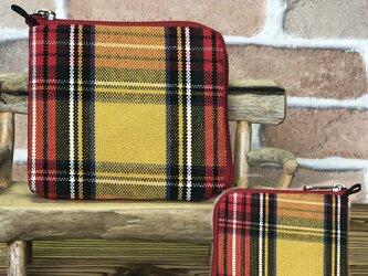 新案設計・倉敷帆布の薄い財布  黄系格子 赤ファスナーの画像