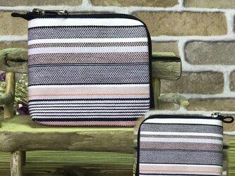 新案設計・倉敷帆布の薄い財布   グレー系生地 紺ファスナーの画像