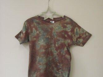 タイダイ染め ダークブラウンとダークグリーンのまだらTシャツ(キッズ120サイズ)⑭の画像