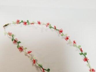 赤い小花のネックレス(受注製作)の画像