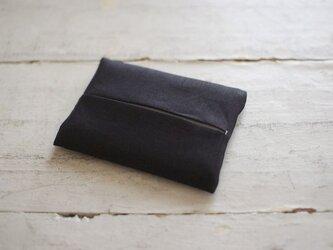 大人のリネンのポケットティッシュカバー《ブラック》の画像