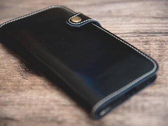 【受注製作】上質部分のみ使用してつくった牛革iphone6/plus, 7/plus, 8/plusケース 黒 TS994の画像