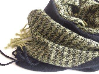 手織りカシミアストール・・黒×抹茶の画像