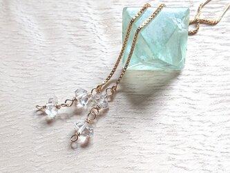 ハーキマーダイヤモンドチェーンピアス K14gfの画像