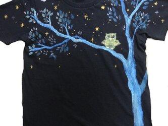 月ふくろう★特注手描きTシャツ★名入れ★記念日プレゼント★出産祝い★手書きの画像