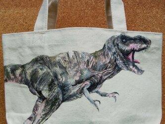 手描きの恐竜トートバッグの画像