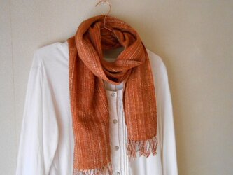草木染(サクラ)手紡ぎ手織り シルク100%マフラーの画像