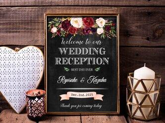 黒板風エレガント水彩花ウェルカムボード結婚式の画像