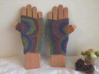 ★☆手編みのうずまき模様の指なし手袋☆★の画像