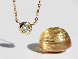 Round brilliant cut Diamond Necklace / K18YGの画像