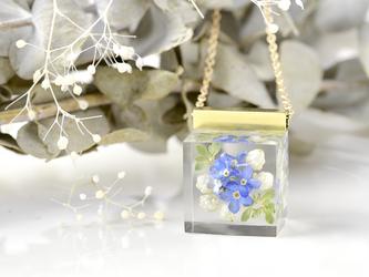 勿忘草とライスフラワー 野原のネックレス14kgf(青・白) わすれな草 , 送料無料の画像