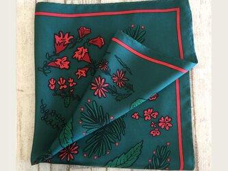 Flower シルクスカーフ ~深緑~の画像