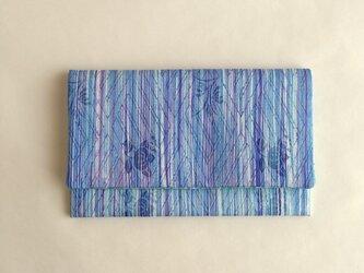 絹手染懐紙入れ(縦・かすれ青紫系/薄緑系)の画像