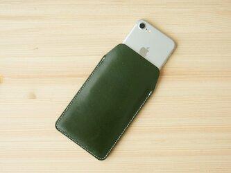 iPhone レザー スリーブケース グリーン(XS/X/8/8Plus/7/7Plus/SE/6/6s/6Plus)の画像