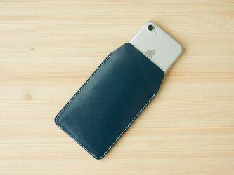 iPhone レザー スリーブケース ネイビー(XS/X/8/8Plus/7/7Plus/SE/6/6s/6Plus)の画像