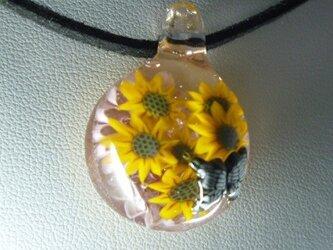 花とレリーフ蝶NO.1(ガラス、蝶、花、ペンダント)の画像