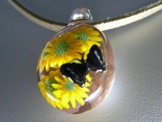 花とレリーフ蝶NO.2(ガラス、花、蝶、ペンダント)の画像
