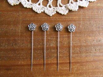 シルバーメタルビーズの待ち針 4本セット  薔薇の画像
