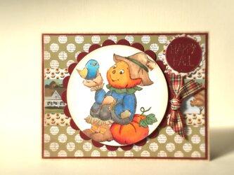 青い小鳥と男の子のカードの画像