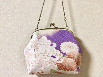 がまぐちミニバッグ・ ★レトロ菊柄×鮫小紋★の画像