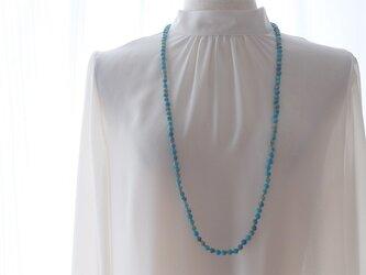 ブルーカオリンのロングネックレスの画像