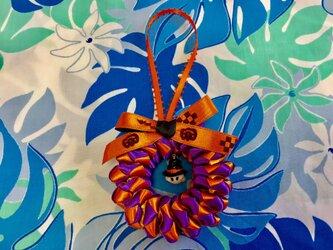 ハワイアンリボンレイ【ハロウィンチャーム(大)紫Xオレンジ おばけ完成品】の画像