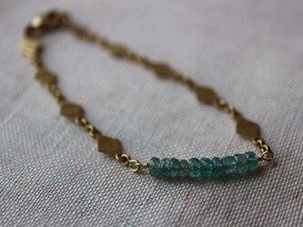 10月誕生石*ブルートルマリン*ダイヤモンドシェイプチェーン*フレンチスタイル*真鍮ブレスレット*no.198の画像