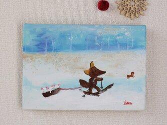 雪の中でそり引くキツネさん(絵画)の画像