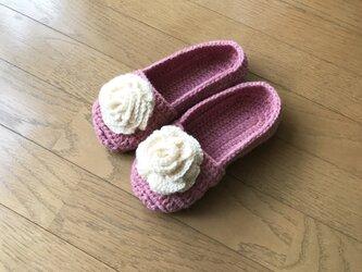 足が小さい人のためのニットルームシューズ(ローズピンク)の画像