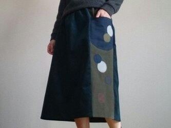 濃紺コーデュロイ大きな丸底ポケット付きウエストゴムの画像