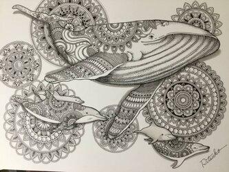 必見 最新作 原画 肉筆 一点もの ボールペンアート 百貨店作家 人気 ボールペン画 絵画 クジラ 鯨 イルカ 開運 縁起物の画像
