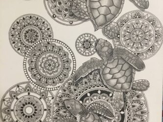 必見 最新作 原画 肉筆 一点もの ボールペンアート 額装付き 人気 ボールペン画 絵画 海亀 亀 カメ 亀の絵 開運 縁起物の画像