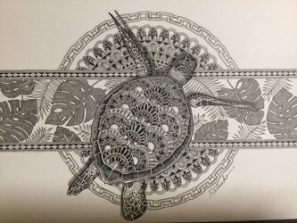 最新作 原画 肉筆 一点もの ボールペンアート 額装付き 人気 ボールペン画 絵画 海亀 亀 カメ 亀の絵 開運 縁起物の画像