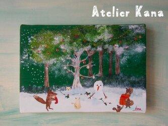 クリスマスのキツネさん(絵画)の画像