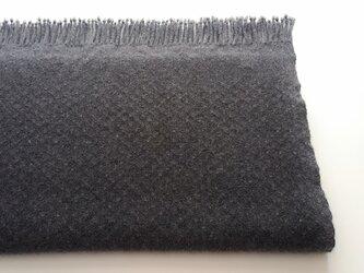 手織りのカシミヤストール/ L /チャコールグレーの画像
